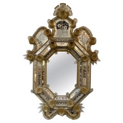 19th Century Venetian Mirror with Etched Glass and Flowers