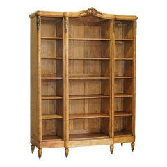Lovely Antique circa 1880 French Burr Walnut Gilt Bronze Mounted Open Bookcase