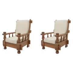 Large Oak French Pair of Lounge Chairs, White Cushions, 1970's
