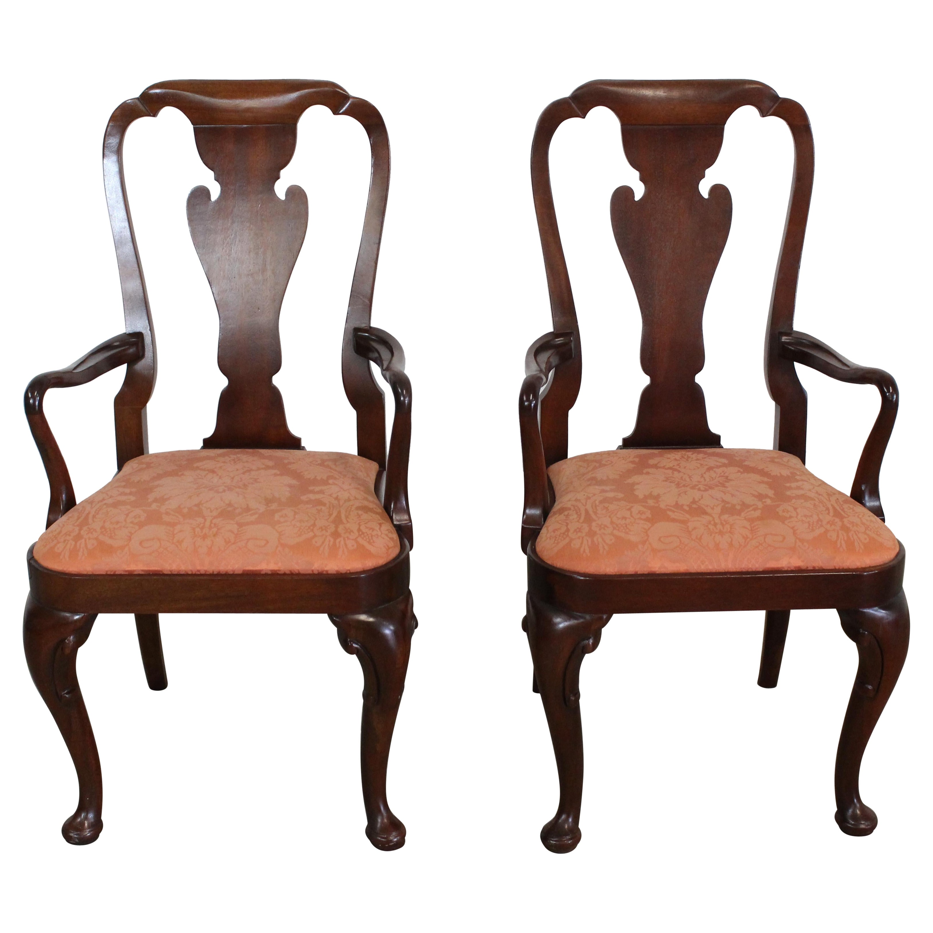Pair of Queen Anne Solid Mahogany Dining Arm Chairs by Baker