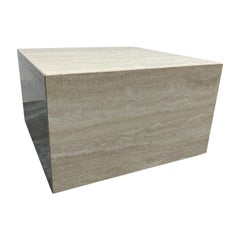Italian Polished Travertine Square Cube Coffee Table on Casters, 1970s