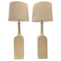 Large Scale Gambone Style Pair of Plaster Lamps