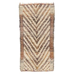 Vintage Berber Beni Ourain Moroccan Rug with Mid-Century Modern Style