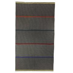 Mid-20th century Striped Gray Swedish Flat-Weave Rug by Lagerhem Ullberg