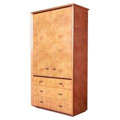 Milo Baughman Style Burl Wood Armoire Dresser by Lane, 1970s