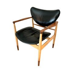 Classic Danish Modern Finn Juhl #48 Rare Maple, Walnut and Leather Chair Vodder