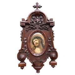 Antique KPM Porcelain Plaque w. Stunning Christ Painting in Carved Nutwood Frame