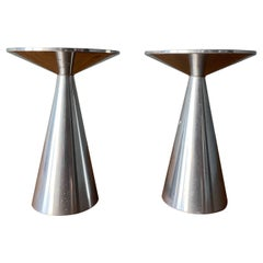 Pair of Vintage Spun Aluminum Candle Holders