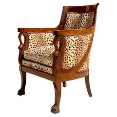 Vintage Regency Mahogany Leopard Tub Chair