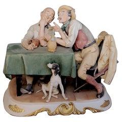 Capodimonte Porcelain Antonio Barsato's Tow Men with Dog and Chianti