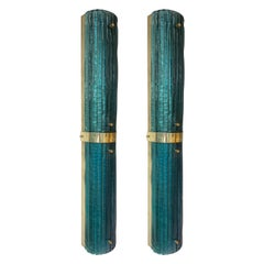 Contemporary Pair of Brass and Blue Peacock Murano Glass Sconces, Italy