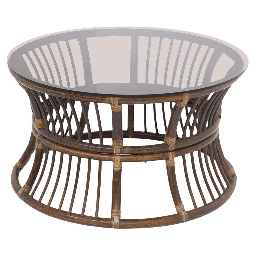 Italian Coffee Table in Bamboo and Glass Top