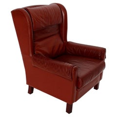 Leather Reddish Brown Vintage Wingback Chair Lounge Chair 1970s Austria