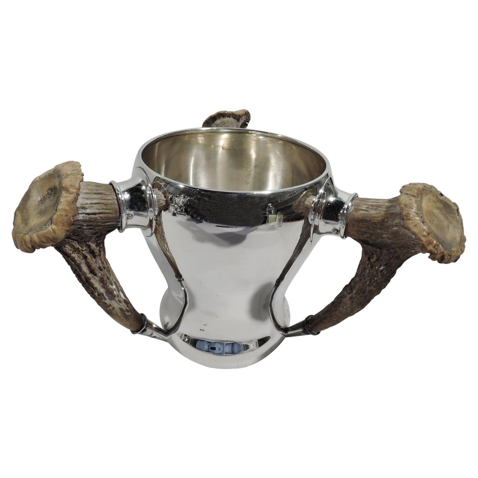 Gorham Big-Game Era Sterling Silver Loving Cup with Antler Handles