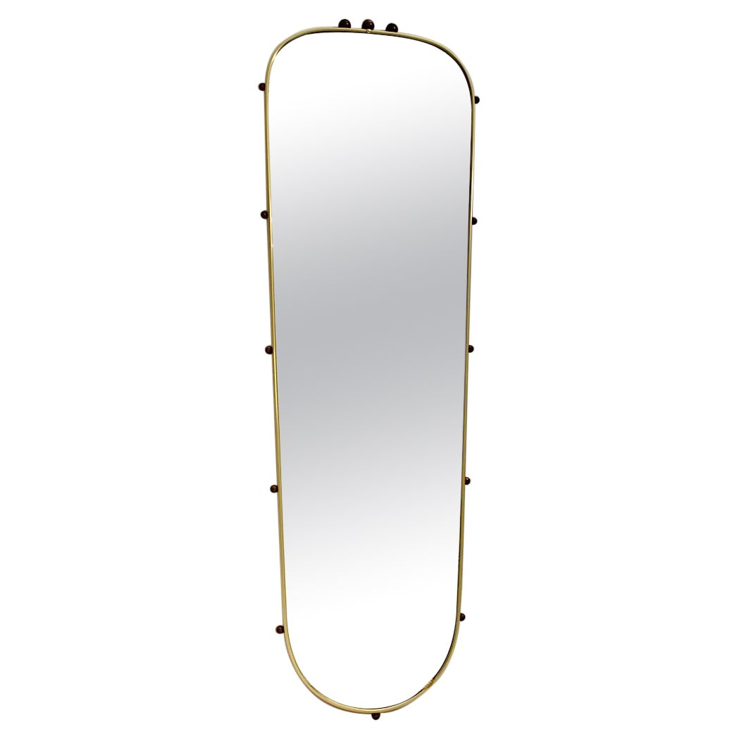 Mid Century Modern Vintage Oval Brass Wall Mirror Full Length Mirror 1960s Italy