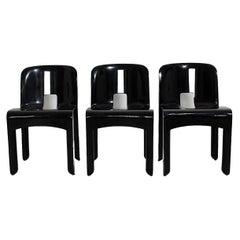 Space Age Vintage Black Plastic Three Dining Chair Joe Colombo 1967 Italy