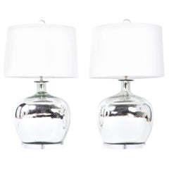 Pair of Mercury Glass Bottle Table Lamps