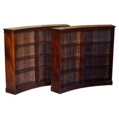 Pair of Very Rare Curved Antique Victorian Flamped Hardwood Library Bookcases