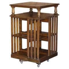 Very Large circa 1880 Antique Victorian English Oak Revolving Bookcase Table