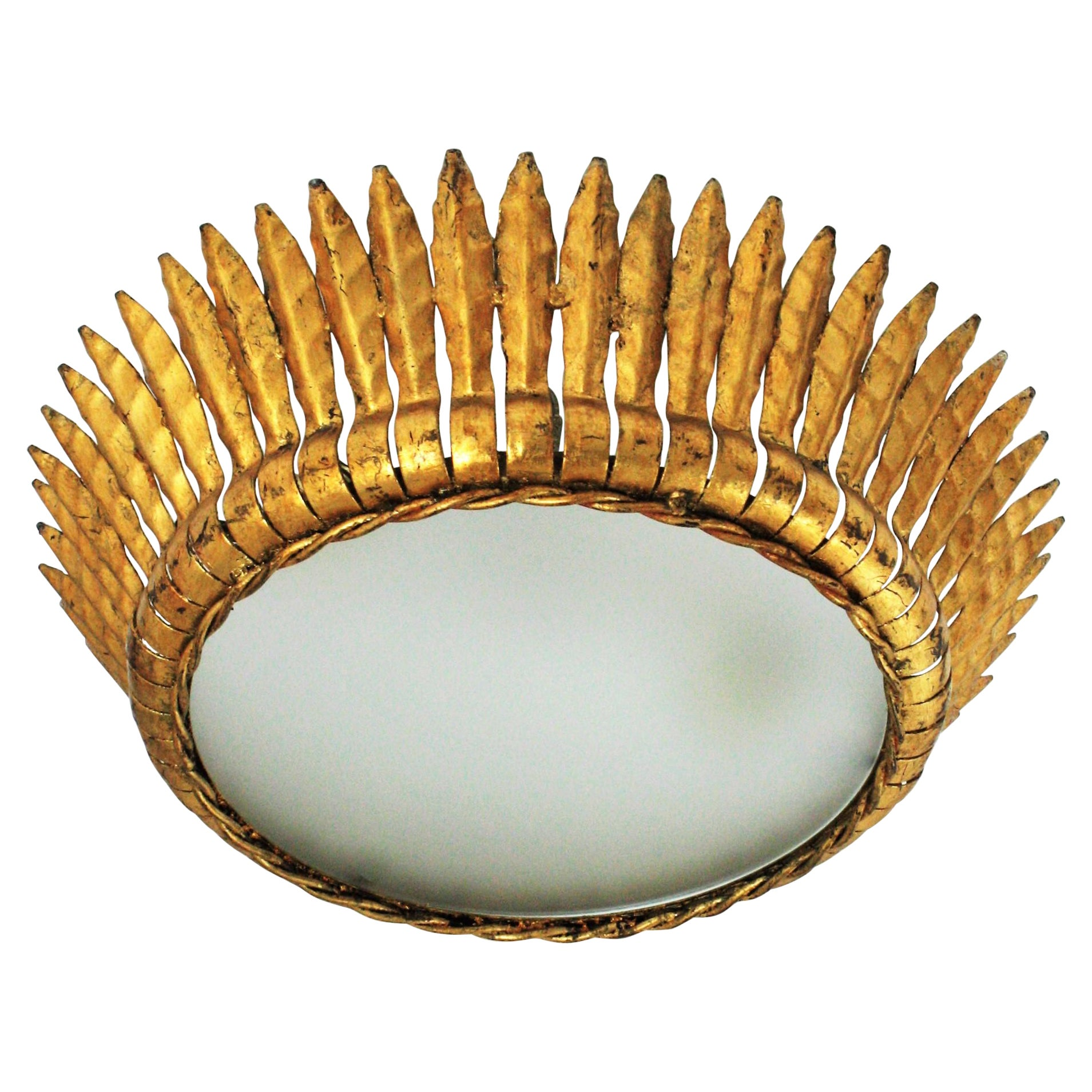Large Spanish Gilt Metal Crown Sunburst Leafed Light Fixture with Frosted Glass