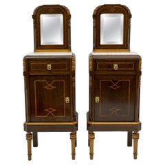Pair of Liberty Italian Thuja Briar and Pink Portugal Marble Bedside Tables, 20s