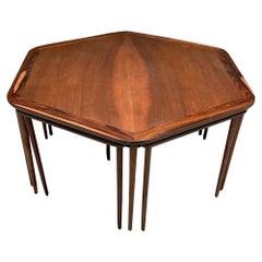 France & Son Elegant Rosewood Hexagonal Coffee Table + Six Nesting Tables 1950s