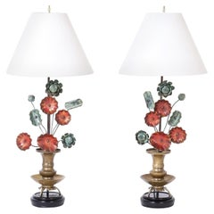 Pair of Mid-Century Asian Modern Style Tole Table Lamps