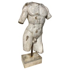 19th Century Italian Grand Tour Carved Marble Nude Male Torso