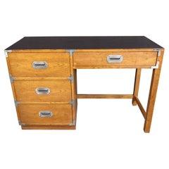 Mid-Century Modern Oak Campaign Desk