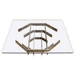 Mid-Century Modern Paul Mayen Glass on Geometric Chrome Coffee Table, 1960s
