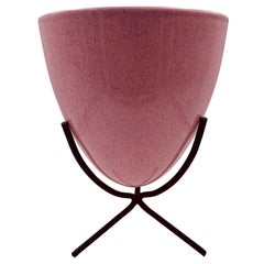 Rare Atomic Age Ceramic Bullet Planter on the Stand by Bauer in Pink