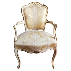 1980s French Louis XVI Carved, Painted and Upholstered Arm Chair