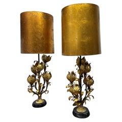 Pair 1950s Italian Gilt Metal Floral Lamps