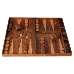 Vintage Rosewood and Walnut Backgammon Board Game Set