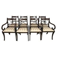 English Regency Style Mahogany Dining Chairs, Set of Eight