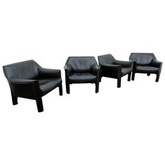 Mario Bellini for Cassina 'Cab #415' Buffalo Leather Club Chairs, Signed, 1980s