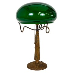 Textured Cast Metal Nouveau Lamp w/ Green Glass Shade & Curled Shade Holder