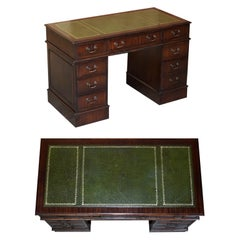 Luxury Vintage Green Leather Hardwood Twin Pedestal Traditional Partner Desk