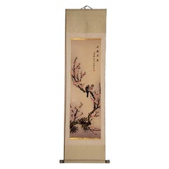 Vintage Chinese Scroll Painting Rice Paper Painted Blue de Hue Porcelain
