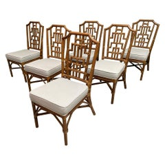 Rattan Dining Chairs in Chinese Chippendale Style, Set of 6