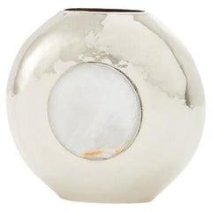 Salta Round Small Flower Vase, Alpaca Silver & Cream Onyx