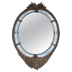 1970/80′ Mirror Murano Véronèse Cristal and Gold Inclusion