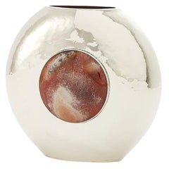 Salta Round Medium Flower Vase, Alpaca Silver & Brown Onyx