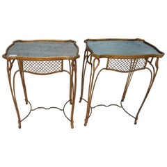 1950 'Pair of Side Tables Maison Bagués Wrought Iron Gilded with Gold Tops Aged