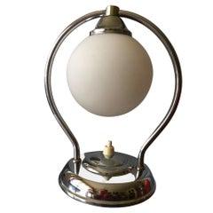 Art Deco Modernist Brass Table Lamp, France, 1930