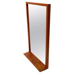 Danish Modern Solid Teak Mirror with Shelf