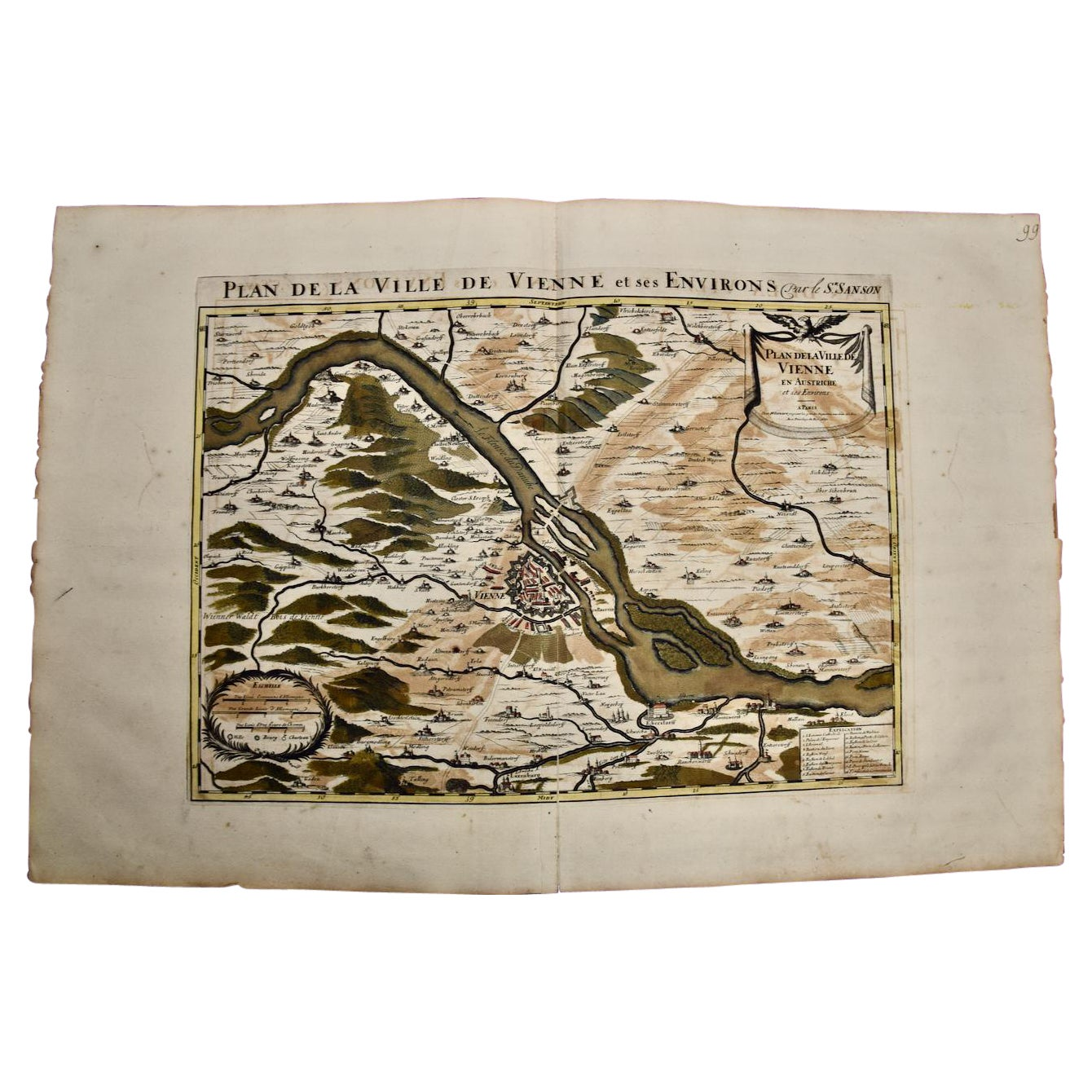 Large 17th Century Hand-Colored Map of Vienna, Austria by Sanson and Jaillot