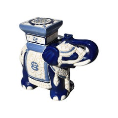 Lucky Chinoiserie Blue and White Ceramic Elephant Plant Stand or Garden Statue