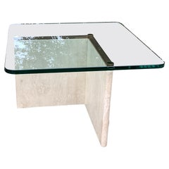1970's Italian Glass and Travertine Coffee Table
