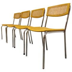 Set of 4 Italian Rattan and Chrome Dining Chairs, 1970s